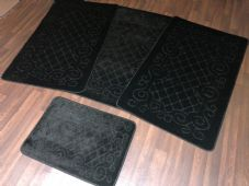 ROMANY GYPSY WASHABLES NICE NON SLIP SET OF 4 MATS BLACK CHEAPEST AROUND